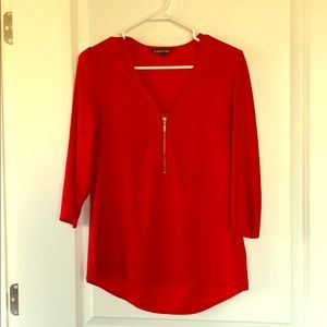 Red silky top with zipper from Express size XS